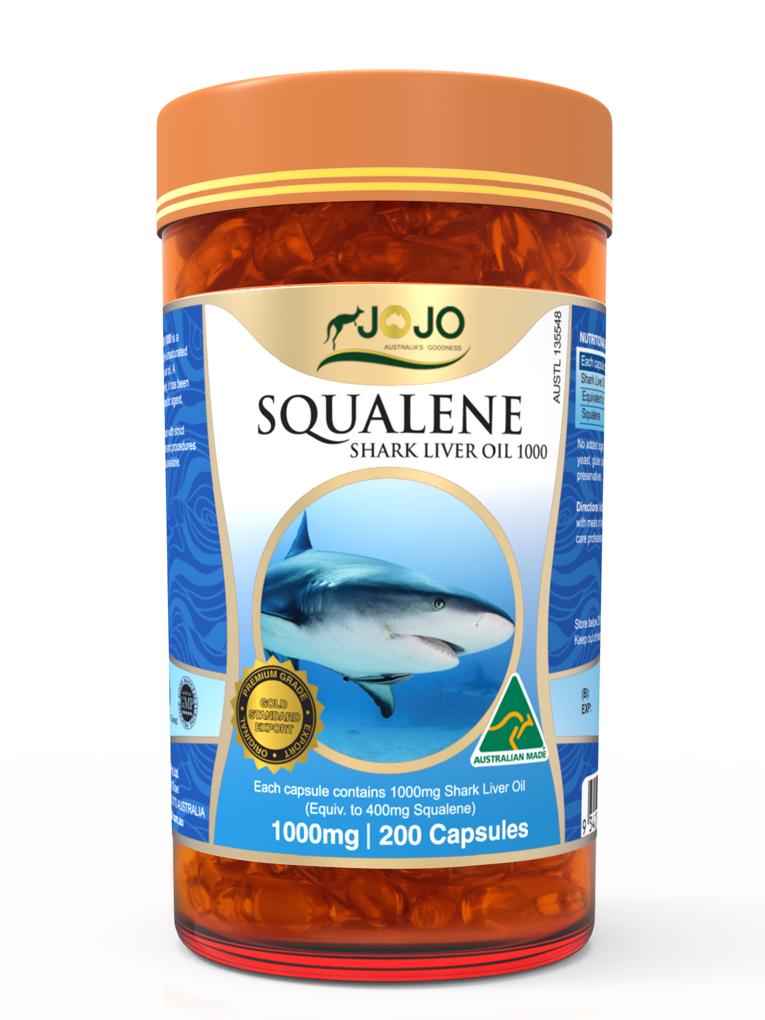 Squalene Shark Liver Oil 1000mg 200 Capsules